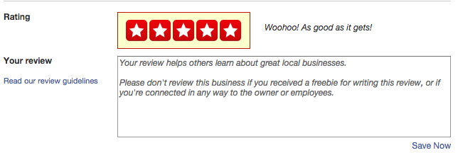 Write a review on yelp application