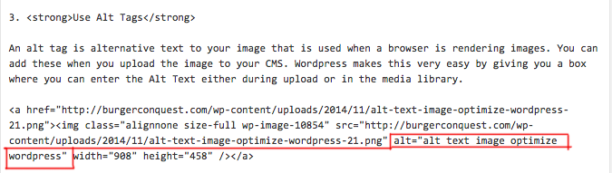 alt text image optimize wordpress html