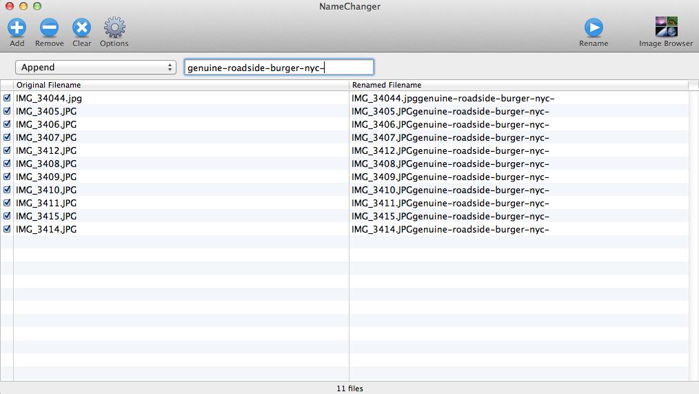 use namchanger app to batch change file names