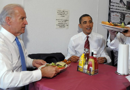 Barack Obama and Joe Biden Love Hamburgers
