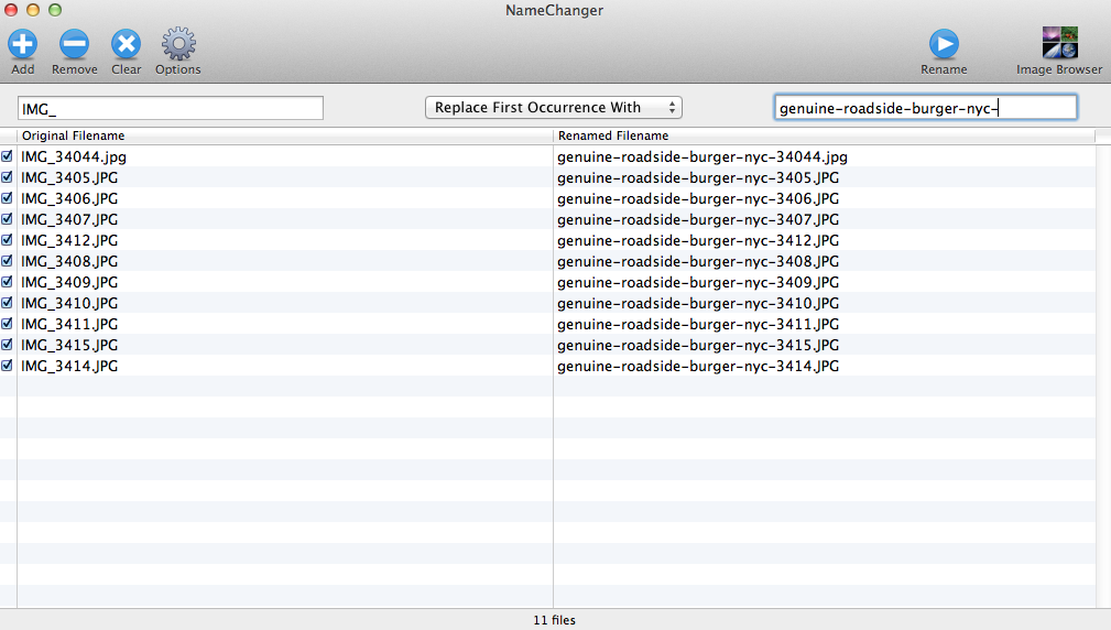 use namchanger app to batch change file names
